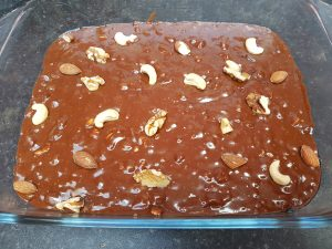 Chocolate nut brownie unbaked