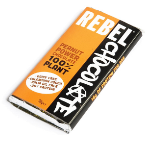 Large bar of Rebel Chocolate Peanut Power Chocolate 100% plant