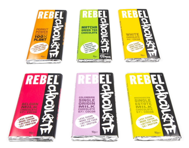6 different bars of Rebel Chocolate - Peanut, Matcha, While, Belgian, Colombian, Madagascan
