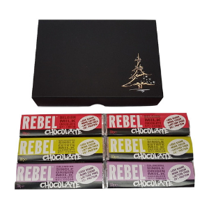 Black Christmas gift box with 6 mixed small bars of Rebel Chocolate in front