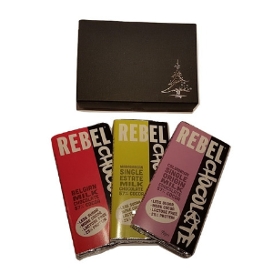 Black Christmas Gift box with 3 large bars of Rebel Chocolate