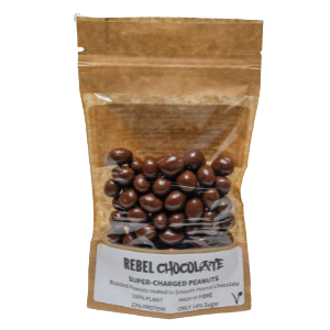Bag containing Rebel Chocolate Super-charged Peanuts - roasted peanuts smothered in smooth peanut power chocolate