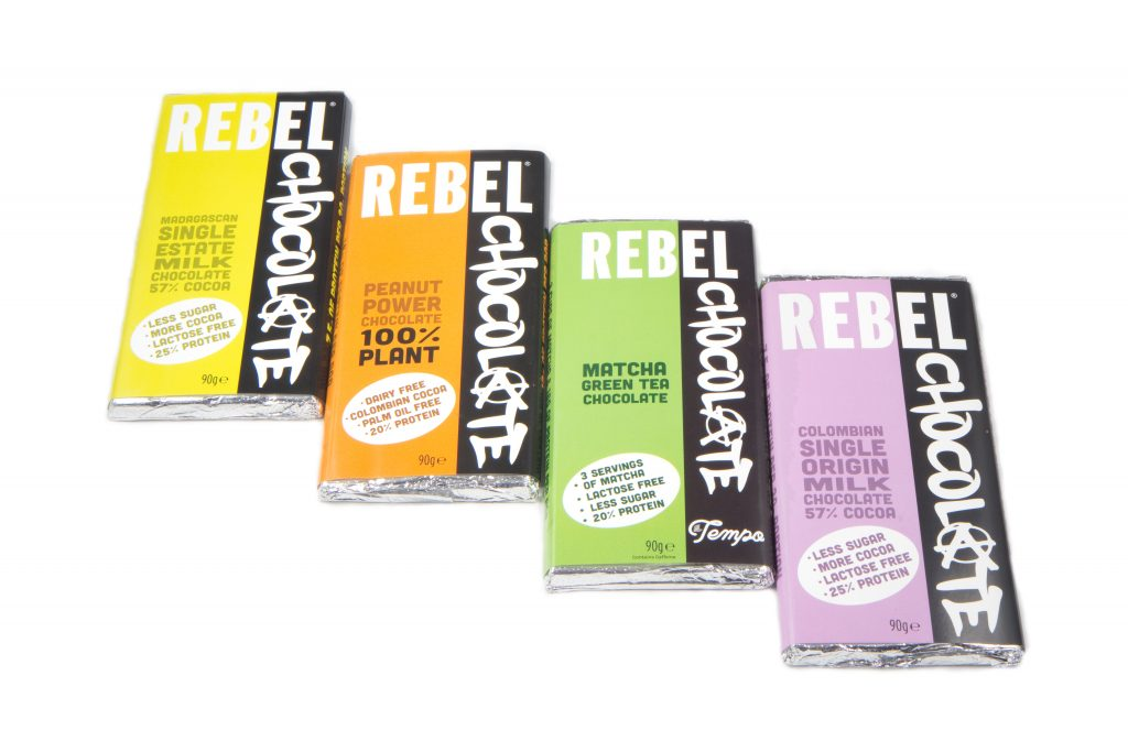 4 large bars of Rebel Chocolate