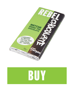 Bar of Matcha Green Tea Chocolate with buy button below